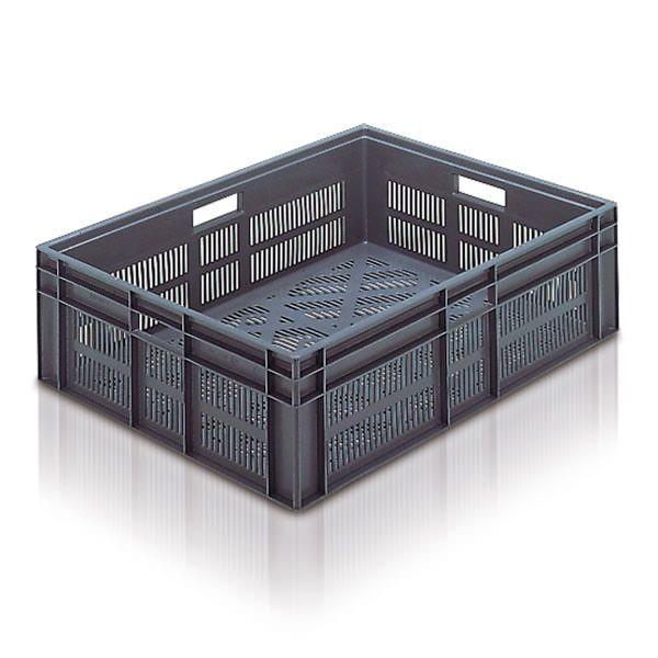 Perforated Euro Stacking Container (ES210901AA) ES210901 -21091 - 87 litre - Grey - 800 x 600 x 235mm