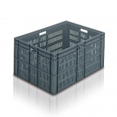 Perforated Euro Stacking Container (ES211606AA) ES211606 - 21164 - 162 litres - Grey - 800 x 600 x 412mm